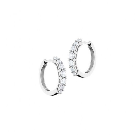 Boucles d'oreilles style créoles Elsa Lee Paris, pavage de 6 oxydes de Zirconium sur le devant des boucles