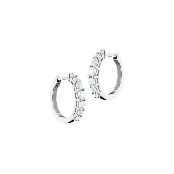 Elsa Lee Paris sterling silver earrings - hoop earrings covered by 6 diamond cut clear Cubic Zirconia