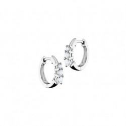 Boucles d'oreilles style créoles Elsa Lee Paris, pavage d'oxydes de Zirconium sertis grain sur le devant des boucles