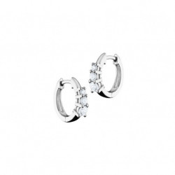 Elsa Lee Paris sterling silver earrings, hoop earrings covered by 14 diamond cut clear Cubic Zirconia