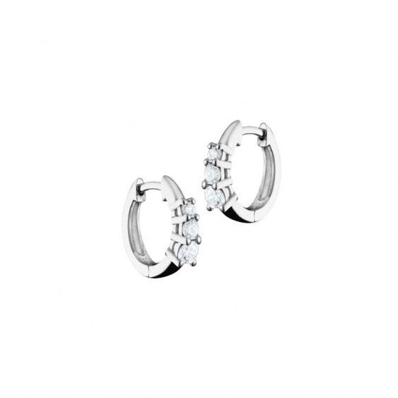 Elsa Lee Paris sterling silver earrings, hoop earrings covered by 14 diamond cut clear Cubic Zirconia