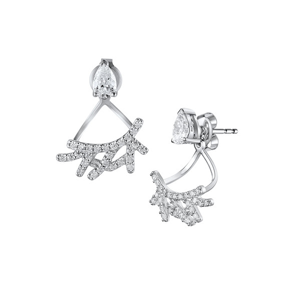 Elsa Lee Paris dangling earrings in silver sterling, rhodium coated and 54 cubics zirconia of 1,08ct and 2 cubics zirconia 6x4 1