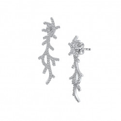 Elsa Lee Paris dangling earrings in silver sterling, rhodium coated and 124 cubics zirconia set size 1,25mm and 2,48ct 2 in 1 s
