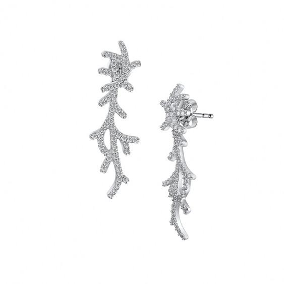 Boucles d'oreilles Elsa Lee Paris pendantes et 2 en 1 en argent 925 rhodié et 124 oxydes de zirconium 1,25mm 2,48ct