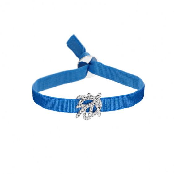 Bracelet Elsa Lee Paris avec motif en argent 925 rhodié avec 43 oxydes de zirconium sertis et ruban élastique bleu