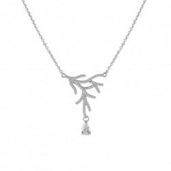 Collier Elsa Lee Paris en argent 925 rhodié, longueur 42 cm avec 3 cm de chainette de rallonge, 67 oxydes de Zirconium taille 1,