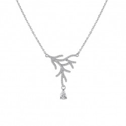 Elsa Lee Paris necklace in sterling silver rhodium coated. Length 42cm with 3cm extension silver chain, 67 cubics zirconia size