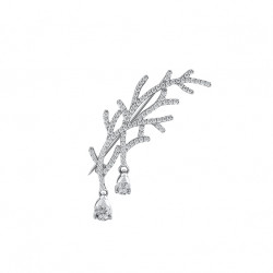 Elsa Lee Paris silver sterling brooch, rhodium coated, ice rime pattern with 106 cubics zirconia sets size 1,25mm, 1 cubic zirco