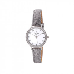Petite montre nina au bracelet gris irisé en cuir et cadran blanc encerclé d'oxydes de zirconium