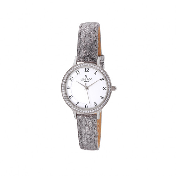 Slim grey leather straps watch with its white dial by Elsa Lee Paris