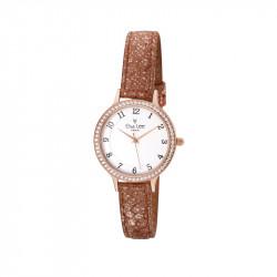 Montre bracelet cuir irisée marron et cadran rose gold