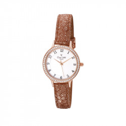 Rose gold dial watch with brown gleaming leather strap by Elsa Lee