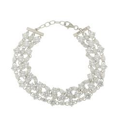 Bracelet Elsa Lee Paris, Argent, longueur 18cm, avec oxydes de Zirconium blancs tailles princesse et navette