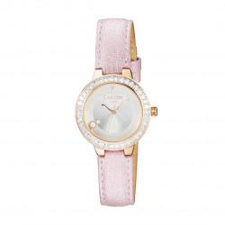 Montre femme cadran rose gold et bracelet rose sans numéro par Elsa Lee Paris