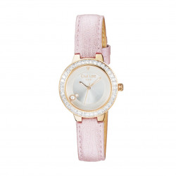 Watch with numberless dial and baby pink leather straps by Elsa Lee Paris