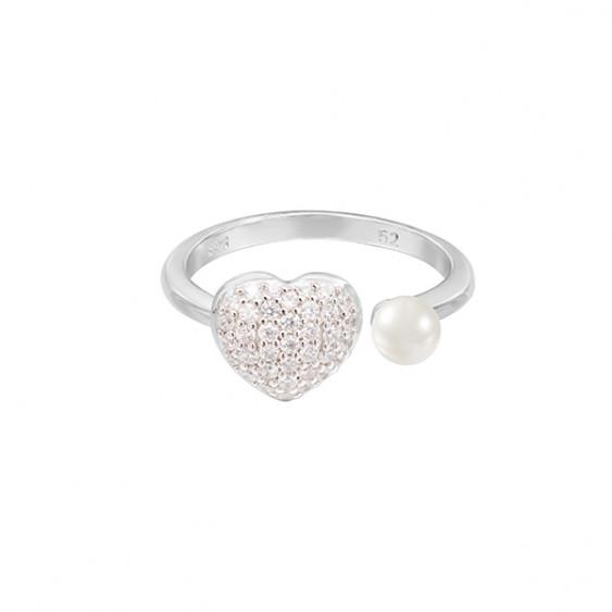 Bague Be my Valentine, bague en argent Elsa Lee motif coeur pavé d'oxydes de Zirconium et perle blanche