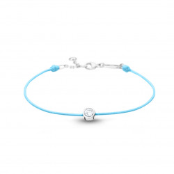 """Bracelet Elsa Lee Paris en """"Argent 925"""" - 1 oxyde de Zirconium 0,44ct serti clos sur cordon coton ciré bleu ciel"""