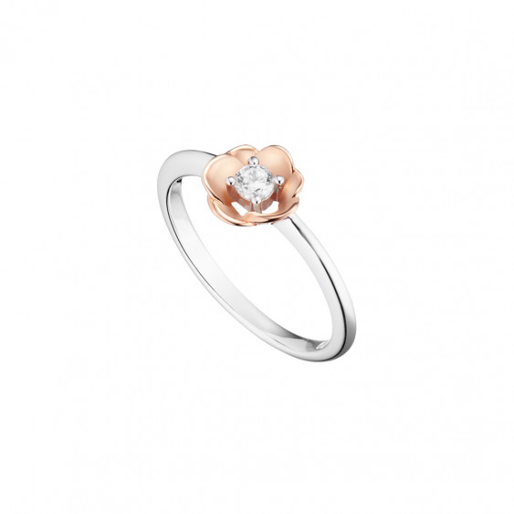 Elsa Lee Paris - Rhodium coated 925 silver with gilding rose on rose flower shape, 1 cubic zirconia 3mm 0,20ct set