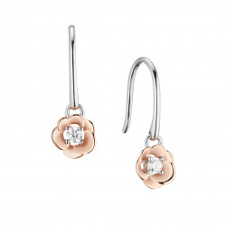 Elsa Lee Paris - Rhodium plated 925 silver, pink gilding on rose flower shape, 2 cubics zirconia 2,5mm 0,22ct set