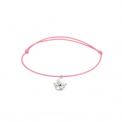 Elsa Lee Paris - Pink waxed cotton cord Clear Spirit bracelet with rhodium plated 925 silver Angel locket with 1 white pearl 6mm