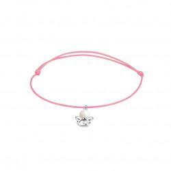 Elsa Lee Paris - Bracelet Clear Spirit sur cordon coton ciré rose pendentif forme ange en argent 925 rhodié avec 1 perle blanche