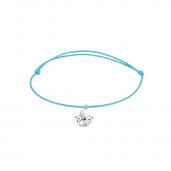 Elsa Lee Paris - Bue waxed cotton cord Clear Spirit bracelet with rhodium plated 925 silver Angel locket with 1 white pearl 6mm