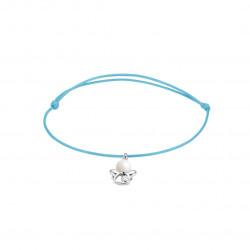 Elsa Lee Paris - Bracelet Clear Spirit sur cordon coton ciré bleu pendentif forme ange en argent 925 rhodié avec 1 perle blanche