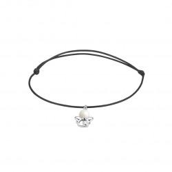 Elsa Lee Paris - Bracelet Clear Spirit sur cordon coton ciré noir pendentif motif ange en argent 925 rhodié avec 1 perle blanche