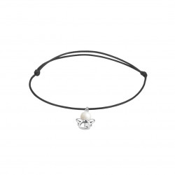 Elsa Lee Paris - Black waxed cotton cord Clear Spirit bracelet with rhodium plated 925 silver Angel locket with 1 white pearl 6m