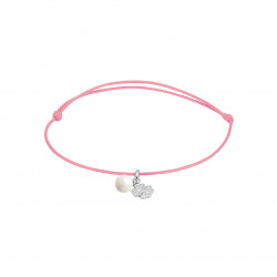 Elsa Lee Paris - Pink waxed cotton cord Clear Spirit bracelet with rhodium plated 925 silver locket with 1 white pearl 6mm and 1
