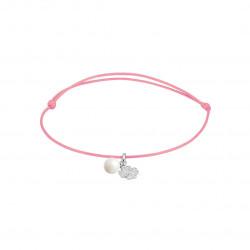 Elsa Lee Paris - Bracelet Clear Spirit sur cordon coton ciré rose pendentif en argent 925 rhodié avec 1 perle blanche 6mm et 12