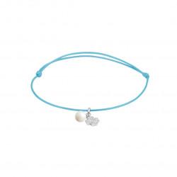 Elsa Lee Paris - Bracelet Clear Spirit sur cordon coton ciré bleu pendentif en argent 925 rhodié avec 1 perle blanche 6mm et 12