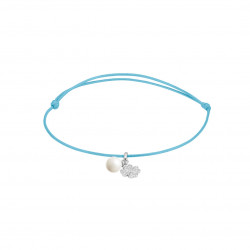 Elsa Lee Paris - Blue waxed cotton cord Clear Spirit bracelet with rhodium plated 925 silver locket with 1 white pearl 6mm and 1