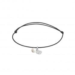Elsa Lee Paris - Bracelet Clear Spirit sur cordon coton ciré noir chaine et pendentif en argent 925 rhodié avec 1 perle blanche
