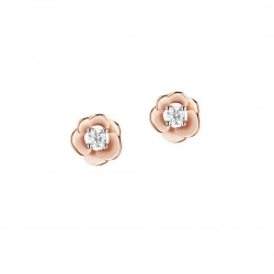 Elsa Lee Paris - Boucles d'oreilles en argent rhodié 925 dorure rose, motif fleur rose, 2 oxydes de zirconium 2,5mm 0,22ct serti