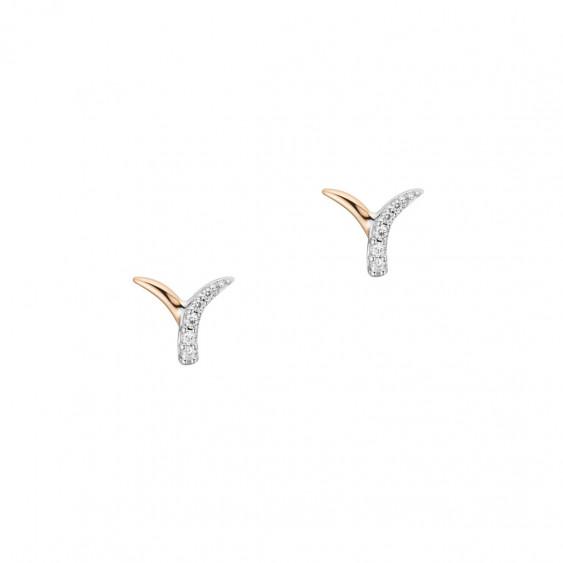 Elsa Lee Paris - Boucles d'oreilles en argent rhodié 925 dorure rose motif liane, 10 oxydes de zirconium 0,16ct sertis
