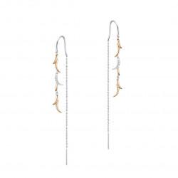 Elsa Lee Paris - Boucles d'oreilles pendantes en argent 925 rhodié avec tige et motif liane sur chaîne. 10 oxydes de zirconium 0
