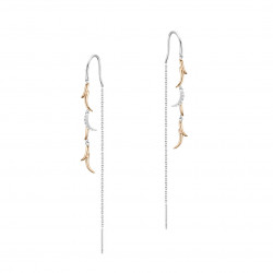 Elsa Lee Paris - Rhodium plated 925 silver Dangling earrings with pink gilding on liana pattern and a silver chain. 10 cubics of