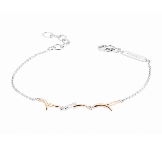 Bracelet en argent rhodié dorure rose et oxydes de zirconium, liane stylisée