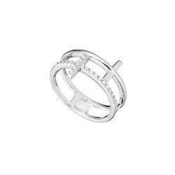Rhodium platted, 925 silver Cross ring, cross pattern and cubics zirconia sets