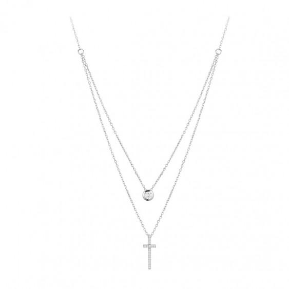 Collier argent 925 rhodié et zirconiums, double chaîne motif croix
