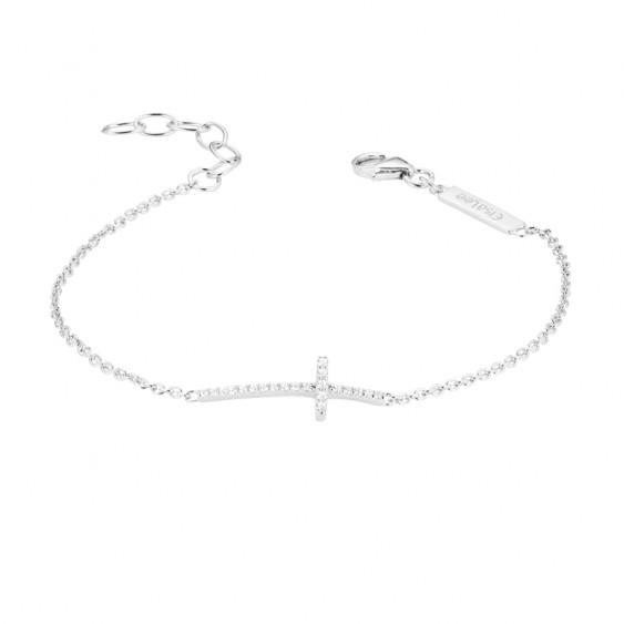 Bracelet argent rhodié et zirconiums sertis, motif croix
