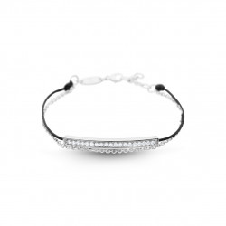 Elsa Lee Paris - Bracelet Clear Spirit en argent 925 rhodié sur cordon ciré noir imperméable, sertis d'oxydes de zirconium