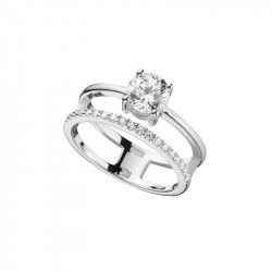Rhodium coated silver 925 double ring with zirconia, Elsa Lee Paris