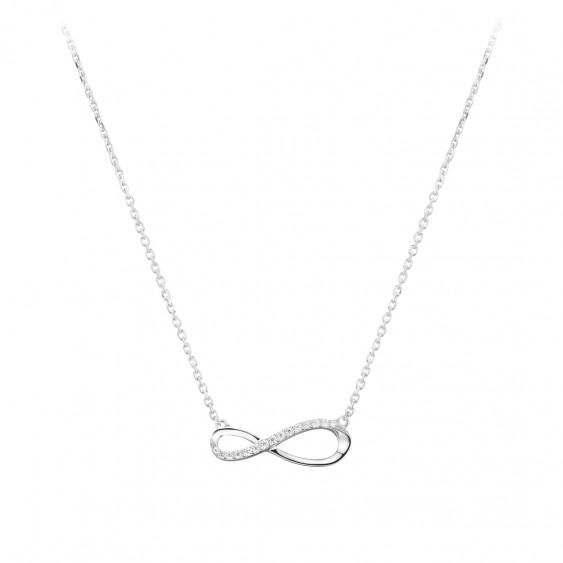 Elsa Lee Paris - Rhodium coated silver Necklace 42cm long + 3cm of chain extension, infinity shape, 12 cubics zirconia 0,24ct -