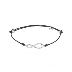 Clear Spirit rhodium coated 925 silver infinity sign bracelet on black waxed cotton