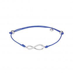 Bracelet Clear Spirit en argent rhodié signe infini sur cordon coton ciré bleu