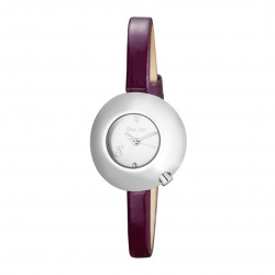 Woman's watch with white dial, domed case and purple leather strap