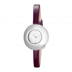 Montre Bulle femme cadran blanc boîtier bombé, bracelet cuir violet