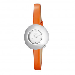 Woman's watch with white dial, domed case and orange leather strap